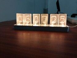 Più economico 6 Bit di Incandescenza LED Orologio Digitale Nixie Tubo Orologio Kit FAI DA TE Elettronico Retrò Orologio Da Tavolo 5 V Micro USB powered