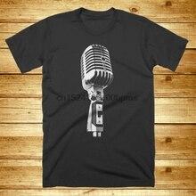 Camiseta con micrófono para la vieja escuela, cantante vocalista, Estilo vintage, música impresa, nueva banda