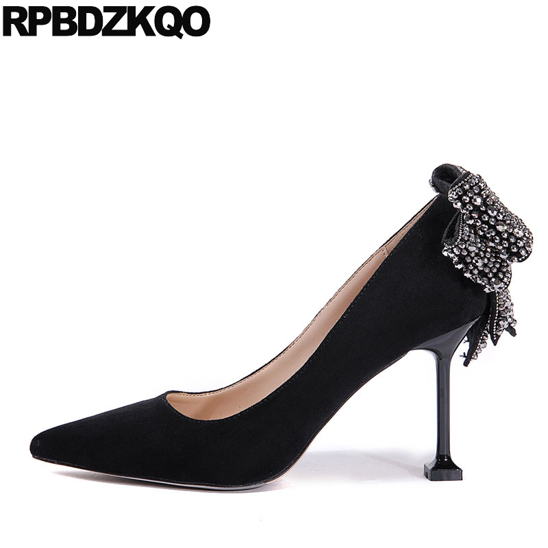 Dress Shoes Medium Heels High Bow Black Women Kitten Suede Pointed Toe Rhinestone Crystal Mary Jane Stiletto Pumps Abnormal japanese mary jane big bow flats soft suede black pointy women dress shoes ladies pointed toe cute 2018 kawaii velvet european