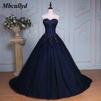 Mbcullyd Navy Blue Ball Gown Princess Quinceanera Dresses Girls Beaded Masquerade Sweet 16 Dress Plus Size vestidos de 15 anos
