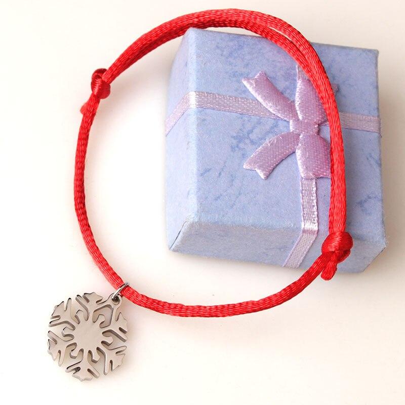 2015 New Design Stainless Steel Snowflake Bracelet Best Gift For Girls Snowflake Charm Bracelet Jewelry Handmade Rope Jewelry