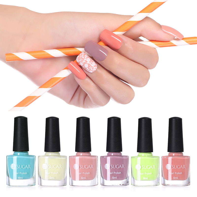 UR SUGAR 1 Bottle 6ml Candy Color Nail Polish Light Pink