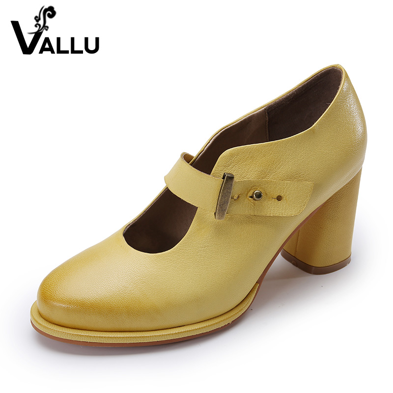 2017 VALLU Women Pumps Genuine Leather High Heel Shoes Genuine Leather Chunky Heels Buckle Handmade Vintage Style 2017 genuine leather women pumps cut out lace up chunky heels handmade vintage women shoes