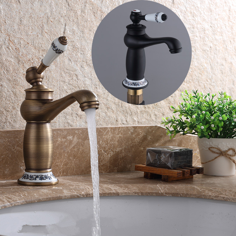 Basin Faucet Bronze Luxury Bathroom Faucet Mixer Antik Musluk Water Sink Tap Bathroom Brass Tap Sink