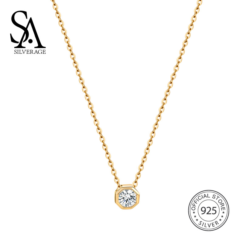SA SILVERAGE 925 Sterling Silver Gemstone Pendant Necklaces for Women Gold Color Chain Necklaces 925 Silver Choker Necklace sa silverage real 925 sterling silver crystal key necklaces pendants for women silver chain pendant necklaces wedding gifts