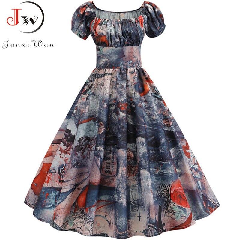 Women Vintage Floral Printed Summer Dress Puff Sleeve Elegant A-line Midi Party Dress Robe 2019 Chic Rockabilly Pinup Vestidos