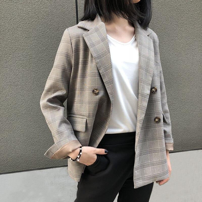 1 À Loisirs Luxe Nouveau Treillis Qualité Longues Fit Manches Fashion2018 De Haute Double D'hiver Manteau Slim Harajuku Femmes breasted Veste xHCwvUU8q