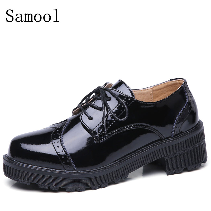 2017 High Quality Genuine Leather Women Oxfords Flats Platform Shoes Patent Leather Lace-up  Pointed Creeper Brogue Shoes qmn women genuine leather platform flats women laser cut patent leather brogue shoes woman oxfords lace up leisure shoes 34 39