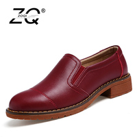 ZOQI Flat Shoes Women Big Size Slip On Shoes For Women Black Leather Oxford Shoes For