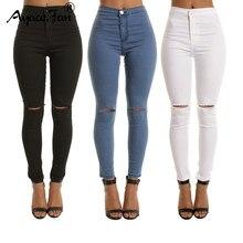 5944301ae88 Осень 2019 г. белые рваные Узкие рваные джинсы для женщин Джеггинсы  Прохладный Деним Высокая талия женские брюки-капри узкие чер.