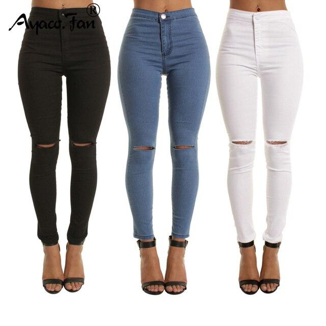 2abcfc1053e82 2019 Autumn White Hole Skinny Ripped Jeans Women Jeggings Cool Denim High  Waist Pants Capris Female