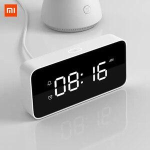 Image 1 - Original Xiaomi Xiaoai Smart Alarm Clock Voice Broadcast Clock ABS Table Dersktop Clocks AutomaticTime Calibration Mi Home App