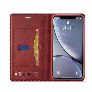 Image 3 - Manyetik hakiki deri Flip cüzdan kılıf için iPhone XR 7 XS Max kılıfları kart tutucu kapak Coque iPhone X 8 artı 11 12 Pro