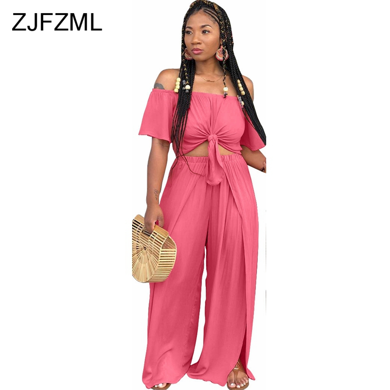 ZJFZML Off Shoulder Sexy 2 Piece Sweat Suit Women Slash Neck Short Sleeve Crop Top + Casual Split Elastic Waist Wide Leg Pant ...