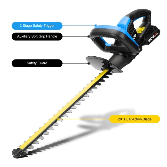 Electric Hedge Trimmer Pruning Shears 20V Cordless 2000mAh Rechargeable Weeding Hedge Household Mower Garden Tools By PROSTORMER 3