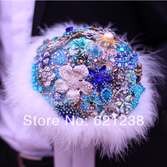 Silver Blue Brooch Bouquet, Vintage Brooch Bouquet,Blue + White Wedding Special Holding Flowers  , Colors Can Be Changed