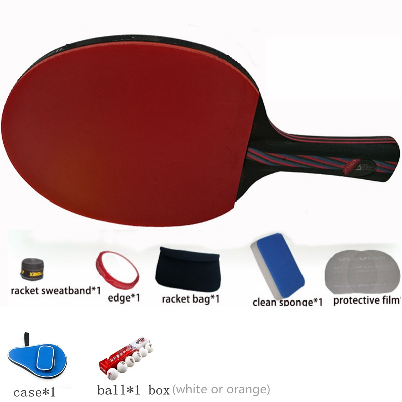 Hybrid Wood 9.8 carbon fiber Table tennis racket glued with double face Pimples-in blue rubber Ping Pong Racket tenis de mesa hybrid wood 9 8 carbon fiber table tennis racket glued with double face pimples in blue rubber ping pong racket tenis de mesa