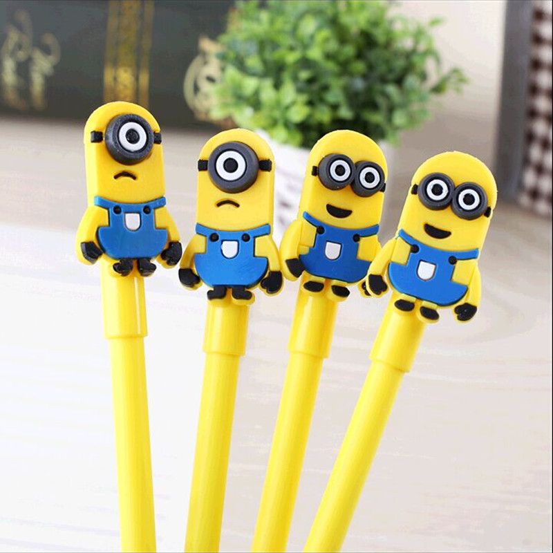 2PCS/Lot Cute Silicone yellow Minions Series 0.38mm Black Gel Pen/Escolar Papelaria School Office Supply Promotional Gift недорого