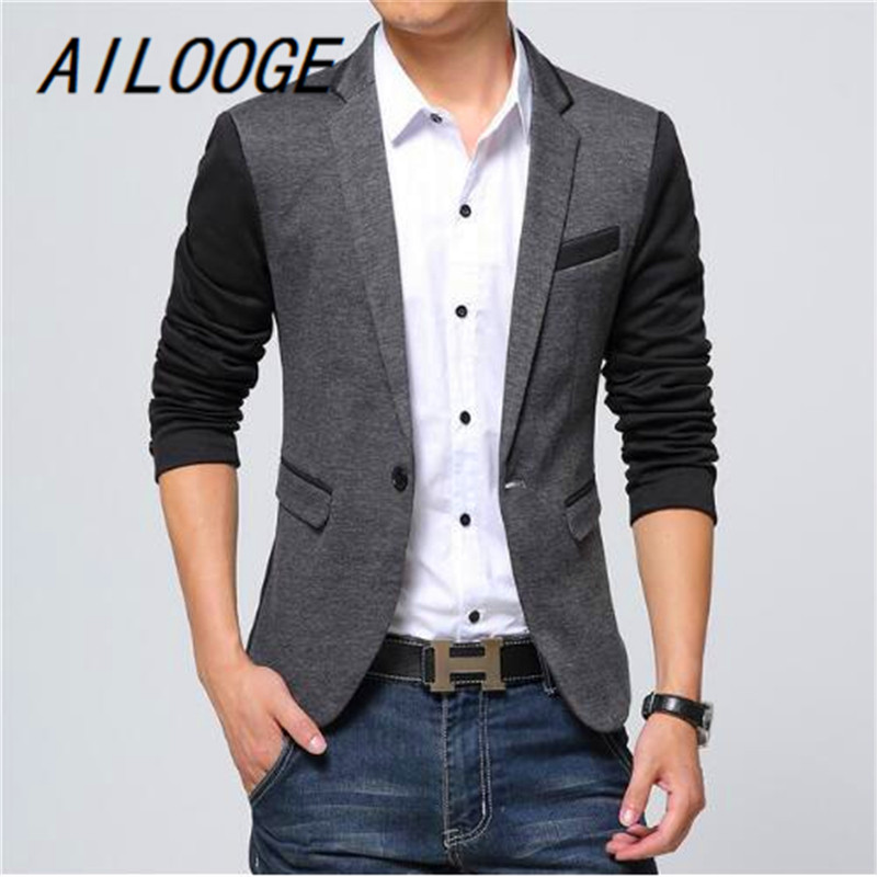 AILOOGE Fashion Casual Men Blazer Cotton Slim Korea Style Suit Blazer Masculino Male Suits Jacket Blazers Men Plus Size M-6XL