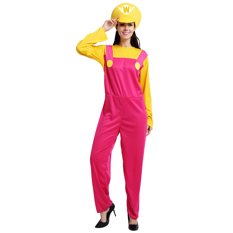 Halloween Costume Cosplay Super Mario pink  Adult Female Mario Game Uniforms Costumes
