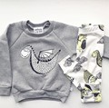 New 2017 autumn baby boy clothes newborn fashion  gray long-sleeved letter t-shirt+ stripe pants infant suit baby clothing set