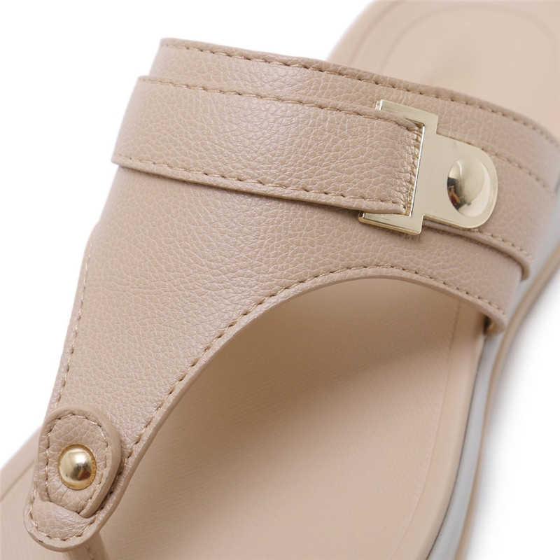 MVVJKE Kadın Kama Terlik Yaz Plaj Flip Flop Klip Ayak Tanga Düz Platform rahat ayakkabılar Slaytlar Kalın Taban Alt Sandalet