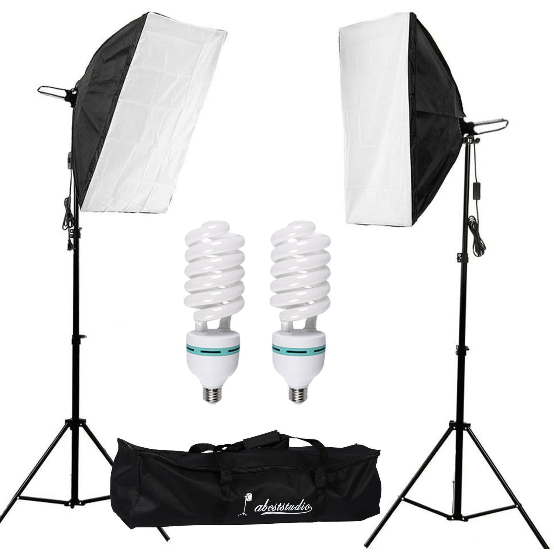 Abeststudio 2 X 135W Continuous Lighting Kit 50x70cm Softbox Photo Studio Set Light Bulbs 5500K Photography 50 X 70 Cm Softboxes