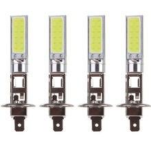 New Arrival 4 sztuk H1 COB LED reflektor samochodowy światło drogowe lampa żarówka biały 6000K samochodów Super jasne Auto oświetlenie samochodowe lampy