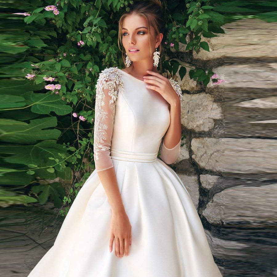 O-neck 3/4 Sleeves Beading Applique Satin A-line Wedding Dress With Pleat Belt Sweep Train Lace-up High Quality Bridal Dress
