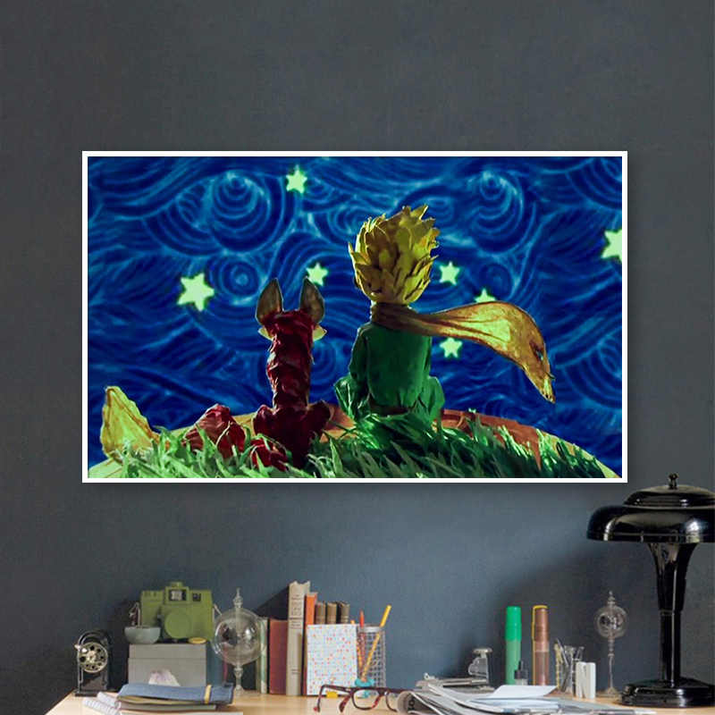 painting by numbers art paint by number Diy Little Prince and Little Fox Look at Starry Sky Man Manually Filling Color Decorat