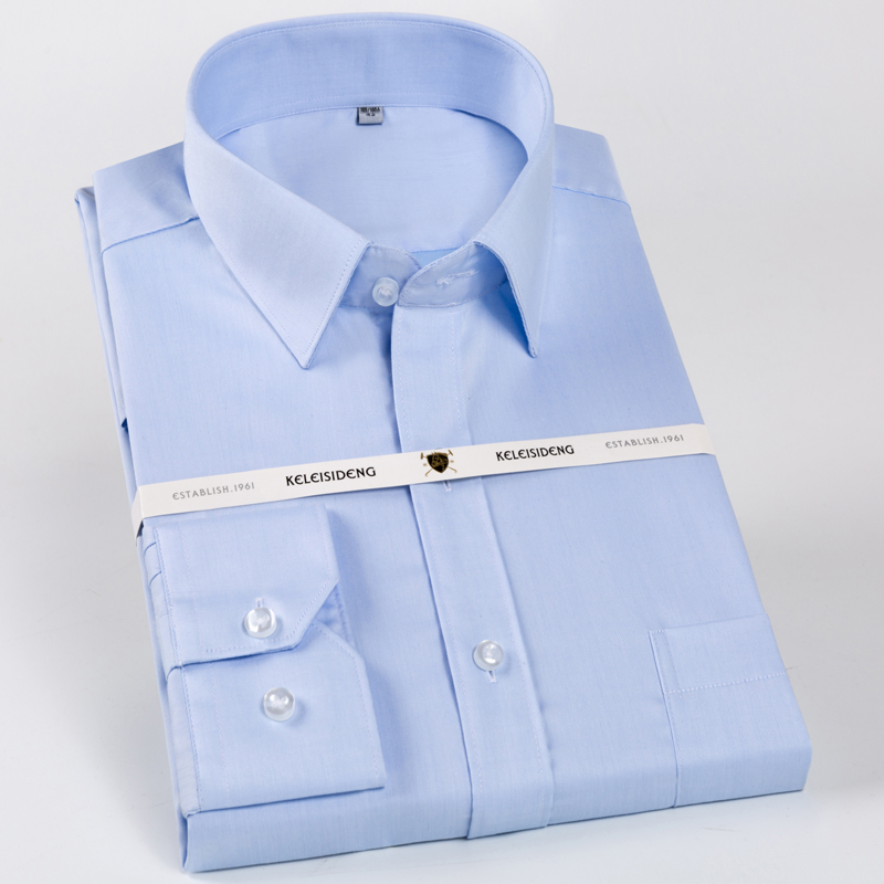 Men's 100% Cotton Long Sleeve Dress Shirts Non Iron Standard-fit Solid Spread Collar Formal Business Shirt With Pocket