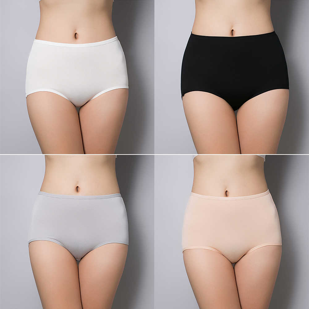 c95822051d2 ... BONJEAN Women s briefs underwear Stretch cotton Abdomen panties plus  size classic high waist Lady s lingerie underpants ...