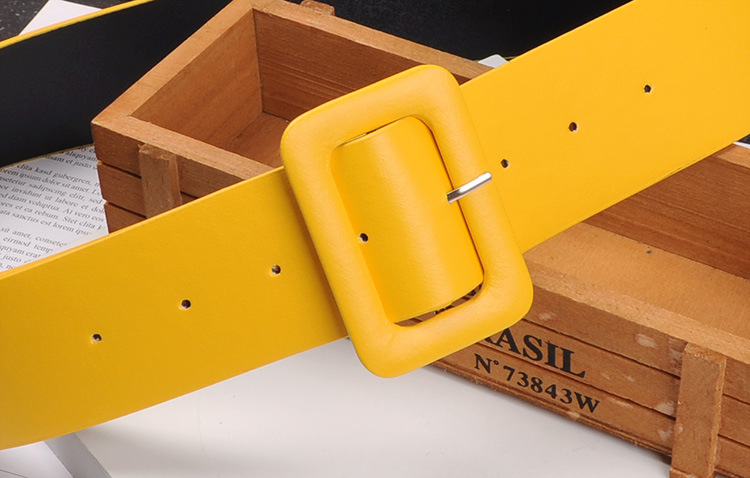 Women's Leather Belt Minimalism Waistband Pin Buckles Jeans Yellow Female Waist Belts For Women Dresses Fashion Simple Harajuku