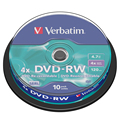 Verbatim DVD-RW 4,7 GB 10pk шпиндель 4x фирменный перезаписываемый для медиа-дисков DVD 43552
