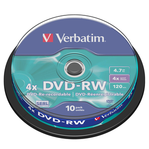 Verbatim DVD-RW 4.7GB 10pk Spindle 4x Branded Rewritable Media Disc DVD 43552