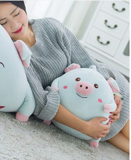 small cute plush cartoon pig toy new blue soft round pig pillow doll gift about 30x28cm