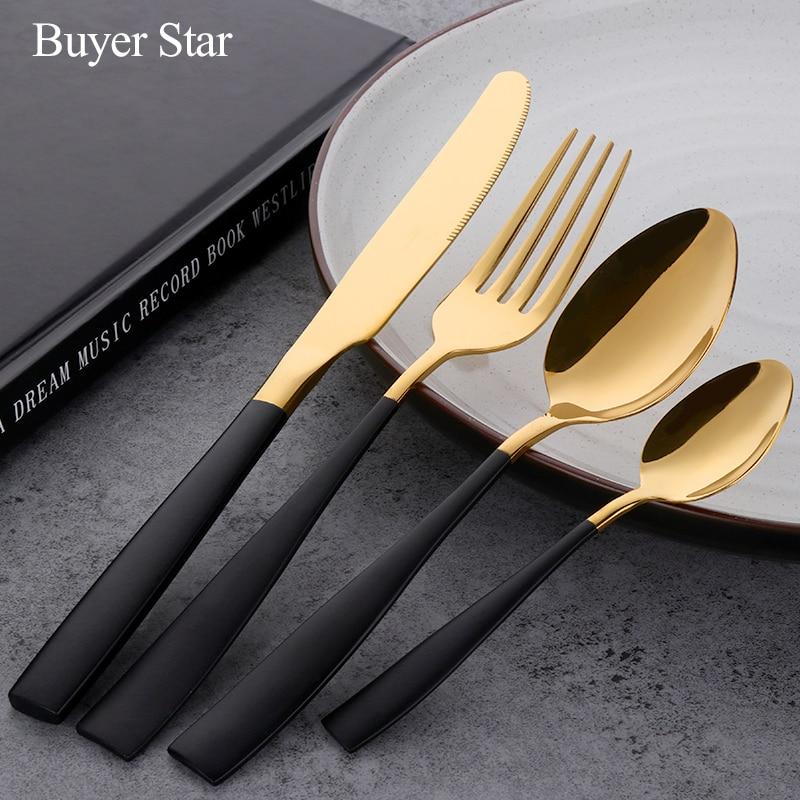 Black Gold Flatware Set Stainless Steel Cutlery Set Knife Fork Set Tableware Cutleries Western Food Set