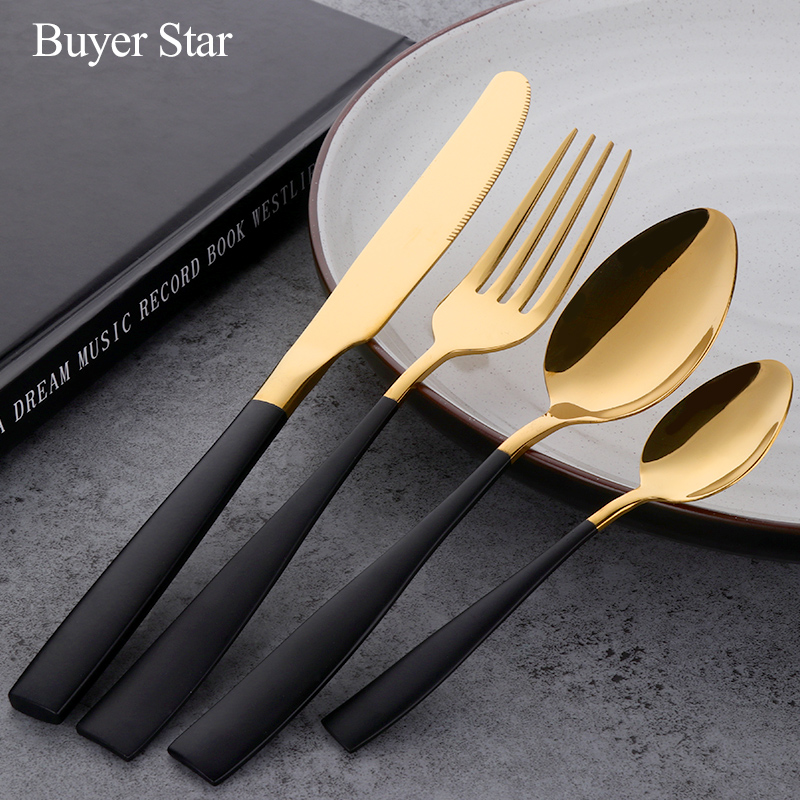 24pcs black gold flatware set stainless steel cutlery set knife fork set tableware cutleries. Black Bedroom Furniture Sets. Home Design Ideas
