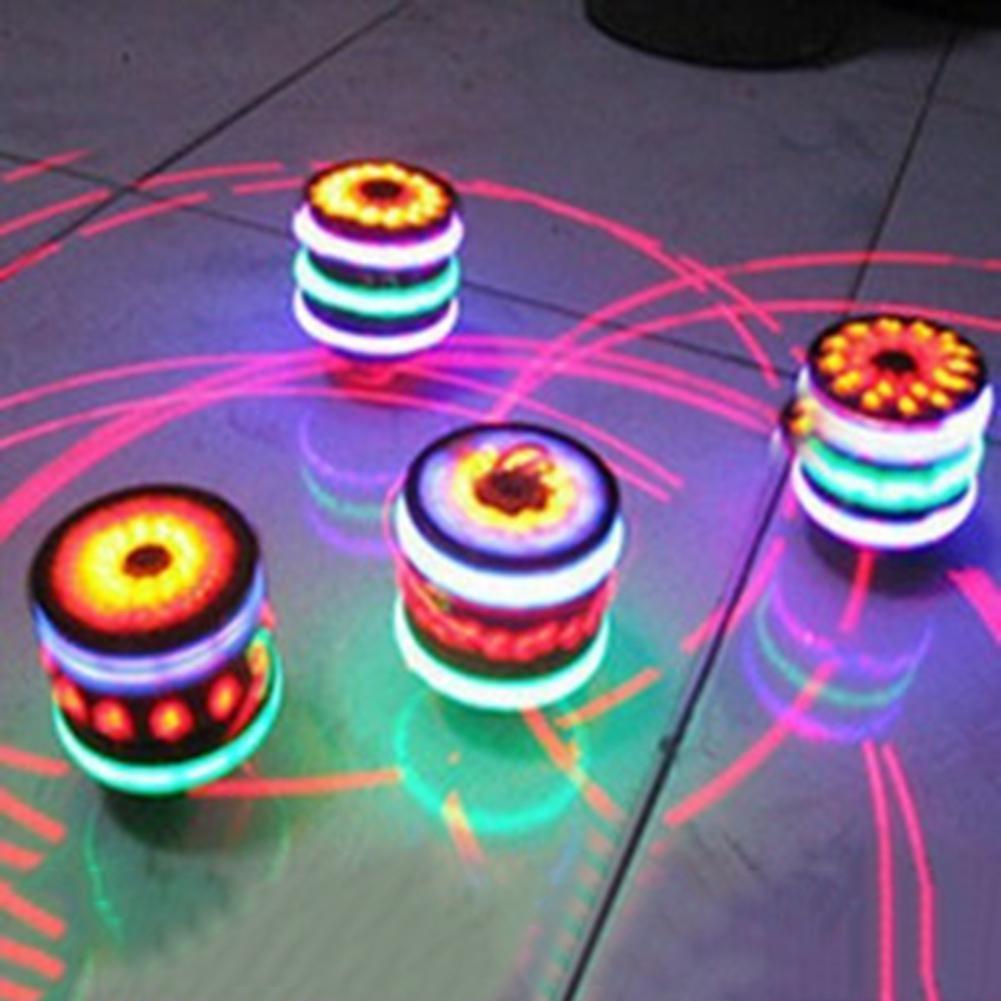 LeadingStar Children LED Light-up Music Wood-Like Peg-top Hand Spinner Plastic Flash Gyro Toy Gift for Kids(China)