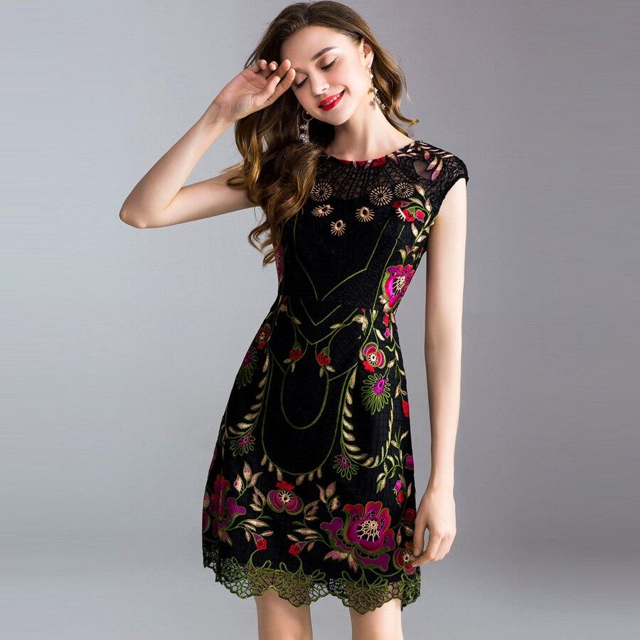 Broderie Xxxl Aeleseen Femmes Fleur Printemps Plus Taille Noire Élégante Out De Été Luxe Robe 2019 Piste Creux vHq4vawTxf