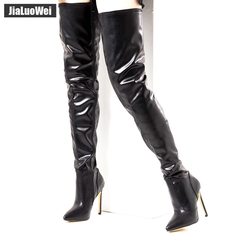 IN STOCK jialuowei Stiletto Sexy Full Zipper Over-the-knee Mid-Thigh Long Boots Patent Black Plus size 36-46