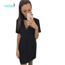 TAOVK дизайн Россия стиль Новые Поступления женщин Летнее платье Повязки вырез v-образным вырезом с коротким рукавом платье