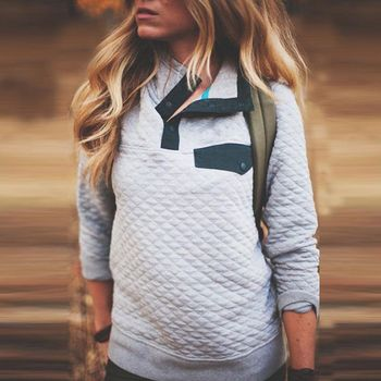 2018 Women Plaid Sweatshirt Casual Loose Patchwork Tops Warm Turtle Neck Long Sleeve Button Pullover Рукав