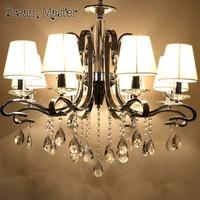 European Luxury Crystal Chandelier Living Room Lobby Dining Room Bedroom Lights Modern LED Creative Iron Chandelier