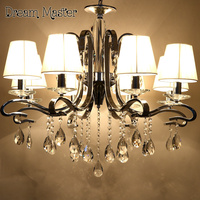 European Luxury Crystal Chandelier Living Room Lobby Dining Room Bedroom Lights Modern LED Creative Iron Chandelier