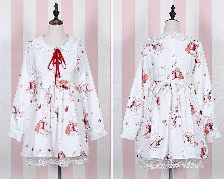 Lolita vestido dulce conejo lindo japonés Kawaii niñas princesa Maid ...