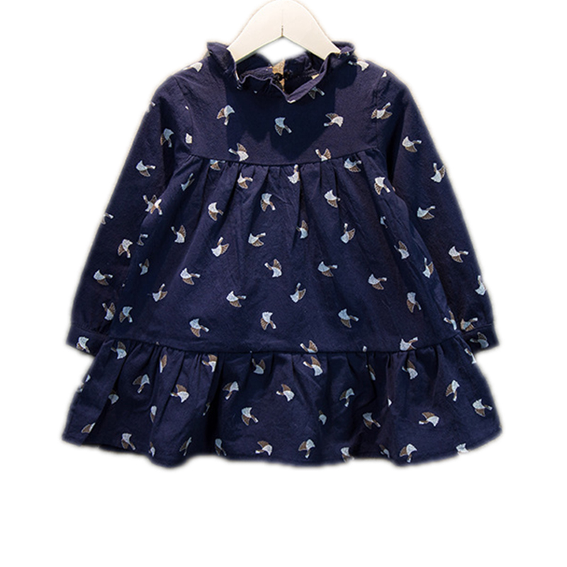 Infant Baby Girls Dress 2016 Spring Long Sleeve Print Ball Gown Little Casual Party Dresses 2-7Years Toddler Vestido