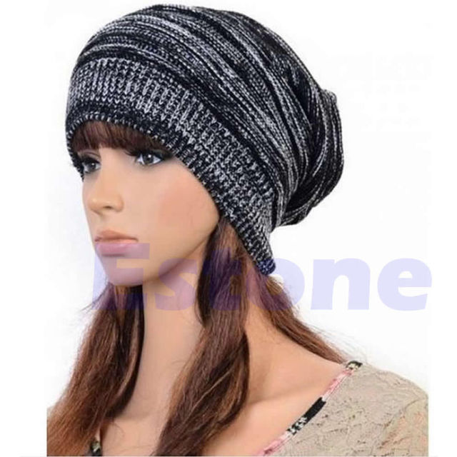 New Men Women s Knit Baggy Beanie Beret Hat Winter Warm Oversized Ski  Unisex Cap 7af5585caa7