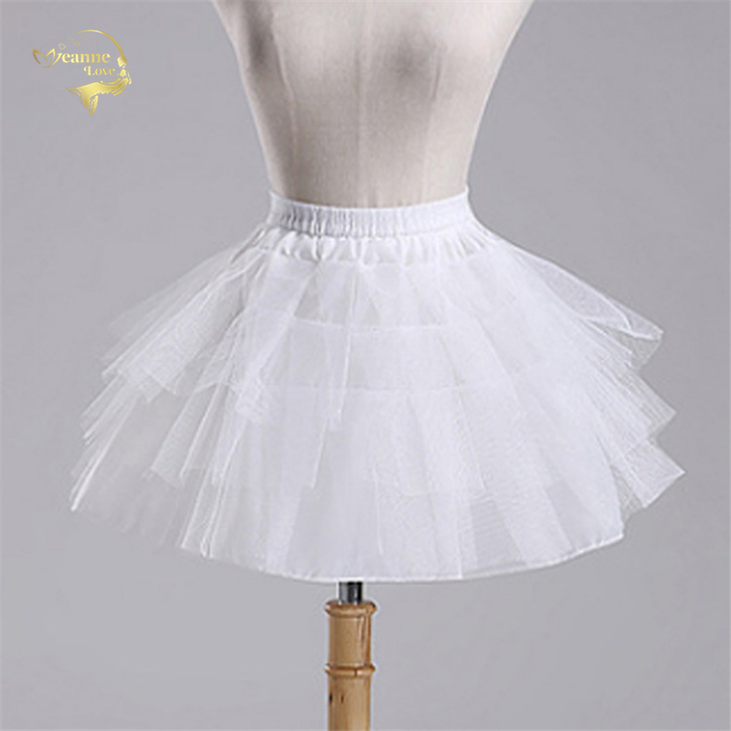 Top Quality Stock White Black Ballet Petticoat Tulle Ruffle Short Crinoline Bridal Petticoats Lady Girls Child Underskirt jupon(China)