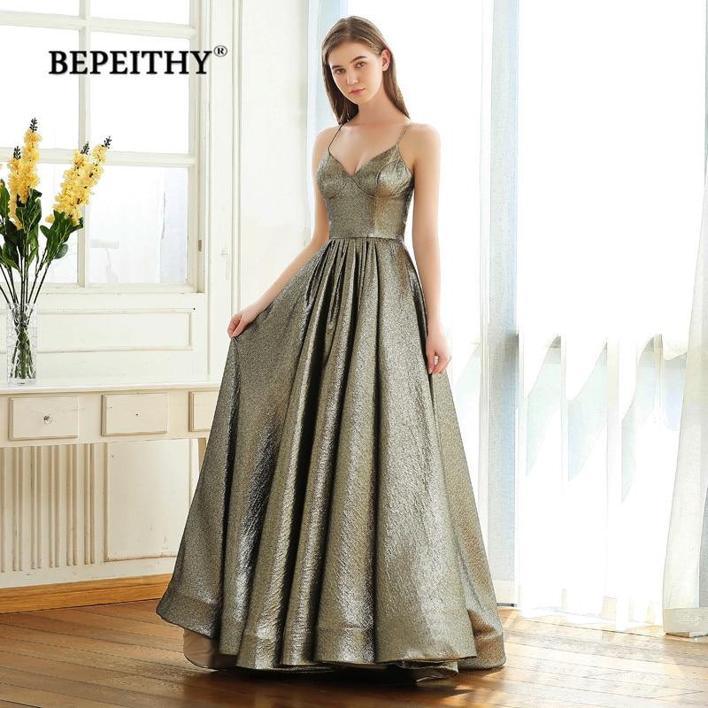 BEPEITHY V Neck Glitter A line Evening Dresses Party 2019 Robe De Soiree Sexy Backless Long Prom Dress Gown Gala Jurken